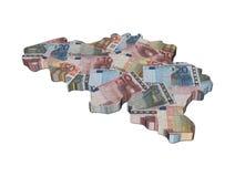 Belgium map with euros Stock Photos