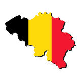 Belgium map flag. Map of Belgium with their flag illustration Royalty Free Stock Photography