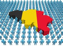 Belgium map flag with many people. Belgium map flag surrounded by many abstract people illustration Royalty Free Stock Image