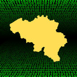 Belgium map over binary code Stock Images