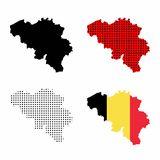 Belgium map vector set. Belgian flag, silhouette map, map with polka dots Stock Photography