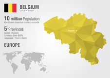 Belgium with map woth a pixel diamond texture. Belgium world map with a pixel diamond texture. World Geography Royalty Free Stock Photos