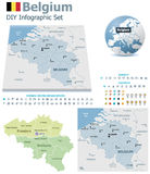 Belgium maps with markers Stock Photos