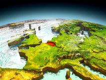 Belgium on model of Earth. Belgium in red on model of planet Earth as seen from orbit. 3D illustration with detailed planet surface. Elements of this image Stock Image