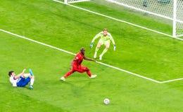 Free Belgium National Football Team Striker Romelu Lukaku  Against Russia Defender Georgi Dzhikiya And Goalkeeper Anton Shunin During Royalty Free Stock Photo - 221335935