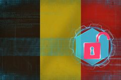Belgium network unprotected. Net protection concept. Royalty Free Stock Photography