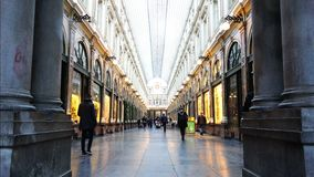 Central alley of glamorous showcases of world stores and boutiques. Belgium, November 24, 2017, Brussels central alley of glamorous showcases of world stores and stock footage