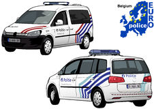 Belgium Police Car. Colored Illustration from Series Europol, Vector Stock Image