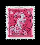 Belgium on postage stamps. Cancelled postage stamp printed by Belgium, that shows King Leopold, circa 1936 royalty free stock image
