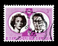 Belgium on postage stamps. Cancelled postage stamp printed by Belgium, that shows Wedding of Boudewijn and Fabiola, circa 1968 royalty free stock photography