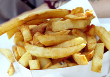 Belgium potatoes fries. The specialty food of Brussels in Belgium the potatoes fries made with beef fat frying stock images