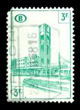 Belgium, Railway Stamp: Station Brussels North serie, circa 1954. MOSCOW, RUSSIA - MAY 15, 2018: A stamp printed in shows Belgium, Railway Stamp: Station royalty free stock image
