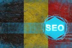 Belgium seo (search engine optimization). SEO concept. Belgium seo (search engine optimization). SEO concept on flag background Royalty Free Stock Photography