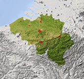 Belgium, shaded relief map. Belgium. Shaded relief map. Surrounding territory greyed out. Colored according to vegetation. Includes clip path for the state area Royalty Free Stock Photo
