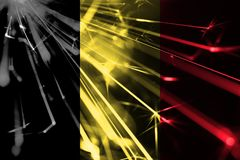 Belgium shining fireworks sparkling flag. New Year 2019 and Christmas futuristic shiny party concept flag. Belgium shining fireworks sparkling flag. New Year vector illustration