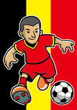 Belgium soccer player with flag background Royalty Free Stock Images