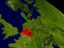 Belgium from space. In red. 3D illustration with highly detailed realistic planet surface. Elements of this image furnished by NASA Royalty Free Stock Photography