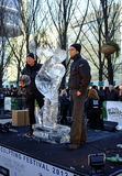 Belgium team at London Ice Sculpture Festival Royalty Free Stock Photos