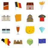 Belgium travel icons set vector flat. Belgium travel icons set. Flat illustration of 16 Belgium travel vector icons isolated on white background Stock Image