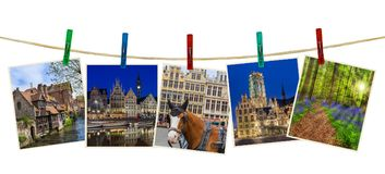 Belgium travel images my photos on clothespins. Isolated on white background Stock Image