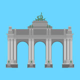 Belgium travel landmark. The triumphal arch in the park of the fiftieth anniversary in Brussels.  Stock Images