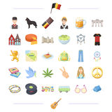 Belgium, travel, national and other web icon in black style  Royalty Free Stock Photography