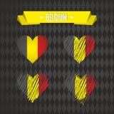 belgium Una raccolta di quattro cuori di vettore con la bandiera Siluetta del cuore royalty illustrazione gratis
