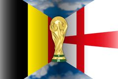 Belgium VS England flags and world cup, vector illustration. Belgium versus England third, fourth final, Russia 2018, vector illustration royalty free illustration