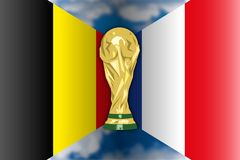 Belgium VS France, Russia 2018, quarter finals. Flags of France and Belgium, phase finals, Russia 2018 world cup football, vector illustration Royalty Free Stock Photography