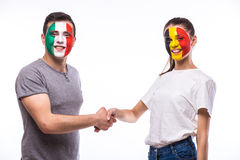 Belgium vs Italy handshake of equal game on white background. Stock Images