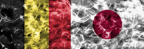 Belgium vs Japan smoke flag, quarter finals, football world cup 2018, Moscow, Russia.  stock photography