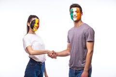 Belgium vs Republic of Ireland handshake of equal game Stock Photos