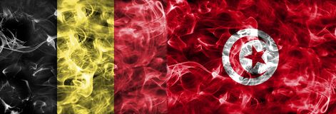 Belgium vs Tunisia smoke flag, group G,Fifa football world cup 2. 018, Moscow, Russia Royalty Free Stock Image