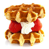 Belgium waffle. With fruit and whipped cream Royalty Free Stock Photos