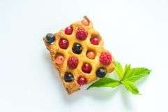 Belgium waffle with fresh berries Royalty Free Stock Photography