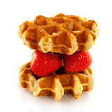 Belgium waffle with fruit Royalty Free Stock Images