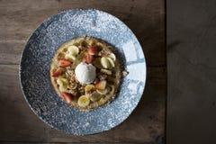 Belgium waffle with fruit royalty free stock image