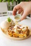 Belgium waffle with ice cream. Royalty Free Stock Image