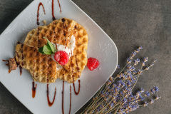 Belgium waffle topped with chocolate topping, whipped cream and fresh raspberries on top, product photography with flower Royalty Free Stock Photos