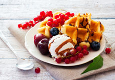 Belgium waffles with berries Royalty Free Stock Photo