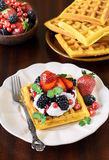 Belgium waffles and berry fruits Stock Photography