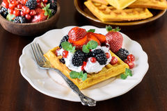 Belgium waffles in the plate Royalty Free Stock Image