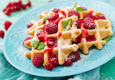 Belgium waffles with raspberries and syrup Stock Image