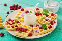 Belgium waffles with raspberries Stock Photography