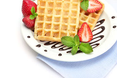 Belgium waffles with strawberries Stock Photos