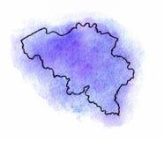 Belgium watercolor map illustration Stock Photography