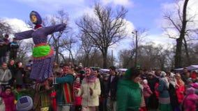 Belgorod - Dnestrovsky, Ukraine - 22 February 2015: Slavic rite see off Shrovetide Maslenitsa end winter stock footage