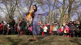Belgorod - Dnestrovsky, Ukraine - 22 February 2015: Slavic rite see off Shrovetide Maslenitsa end winter stock video
