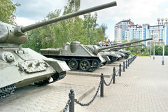 Belgorod. Military weaponry in the open air near a diorama the K Royalty Free Stock Photography