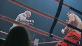 Belgorod, Russia - 22 October 2016: Last fight of the legend Jeff Monson versus Alex Kardo in the ring mixed martial stock video footage